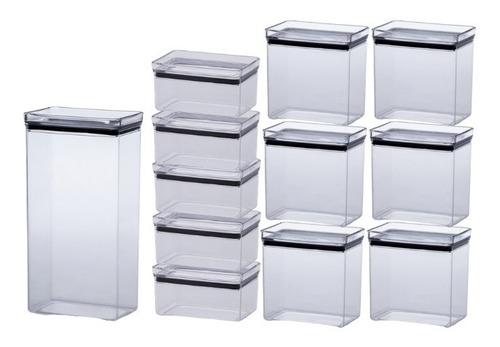 kit 12 potes herméticos retang. empilháveis 580/1300/2600ml