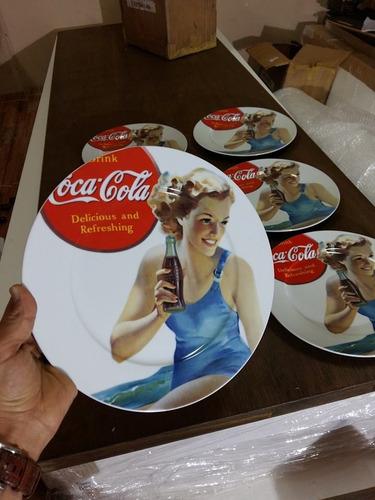 kit 12 prato coca cola  original 6 peças  porcelana 27x27 cm