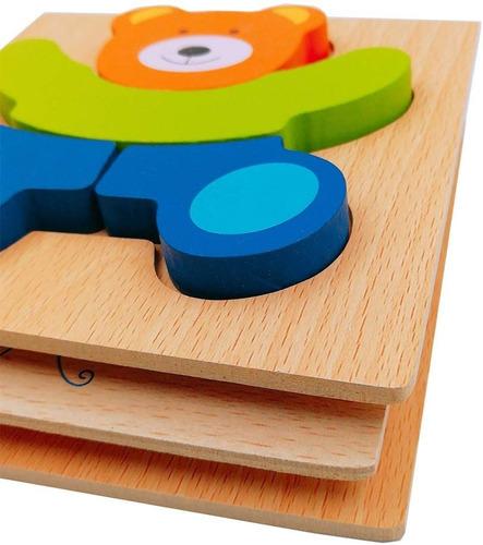 kit 12 puzzle rompecabezas maderas niños aprendizaje