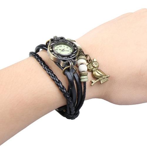 kit 12 relógios feminino pulseira de couro pingente coruja
