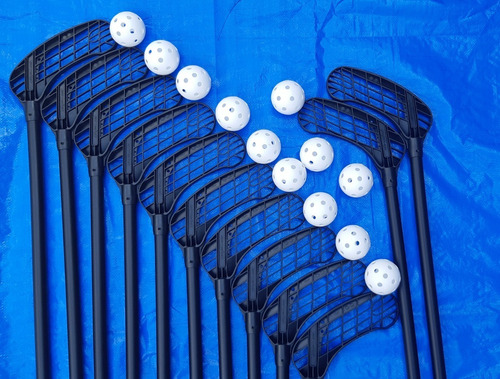 kit 12 tacos de floorball escolar - eurostick master 106cm