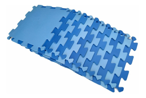 kit 12 tatame tapete eva azul/azul claro infantil 50x50 10mm