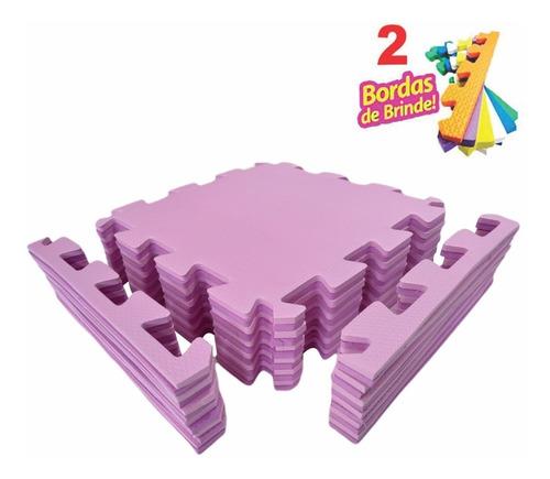 kit 12 tatame tapete eva rosa bebe/pink infantil 50x50 10mm