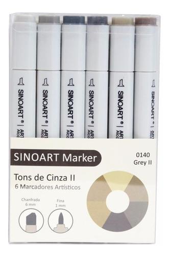 kit 12 tons de cinzas caneta marcador 2 pontas tipo copic