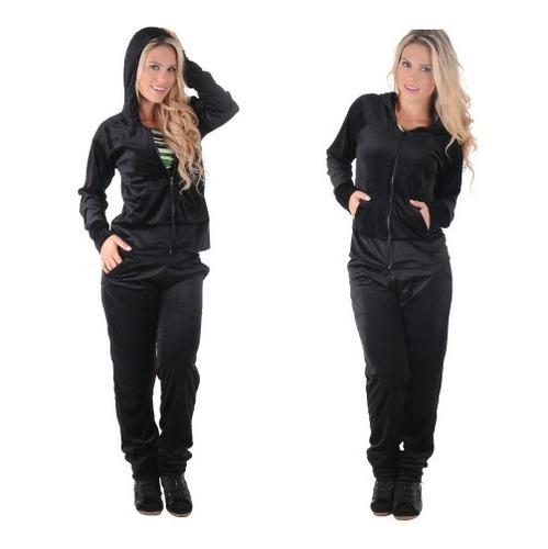 kit 12 unds conjunto plush feminino calça e blusa c/ capuz