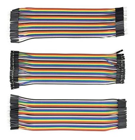 kit 120 cables 20cm protoboard arduino h-h + m-m + m-h