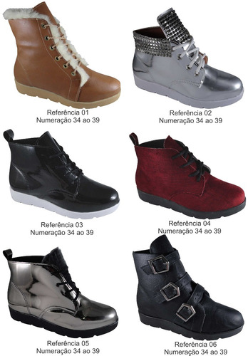 kit 13 pares bota inverno feminina vários modelos atacado