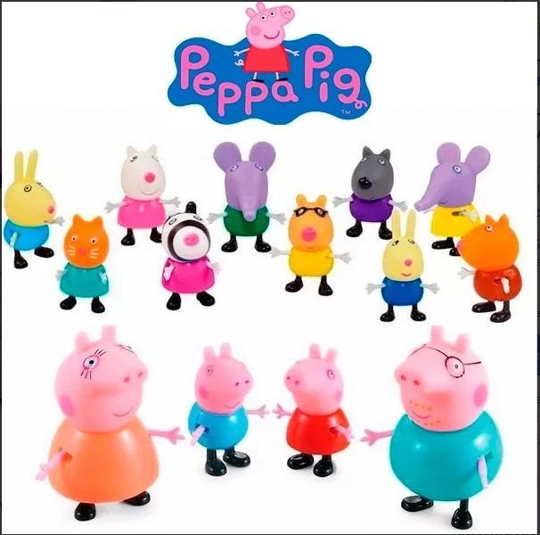 kit 14 personagens do desenho peppa pig - pronta entrega