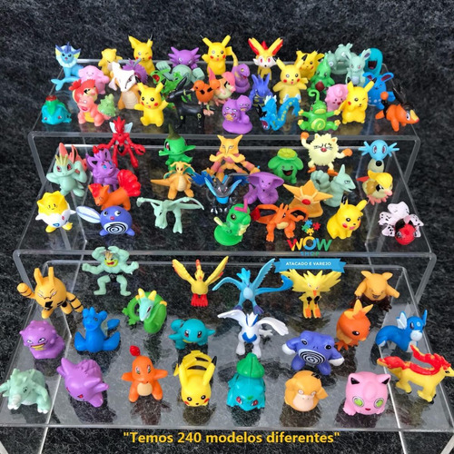 kit 144 pokémons bonecos miniaturas 2-3cm sem repetidos a015