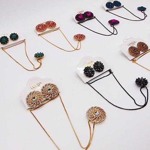 kit 15 atacado bijuteria conjunto luxo gargantilha brinco