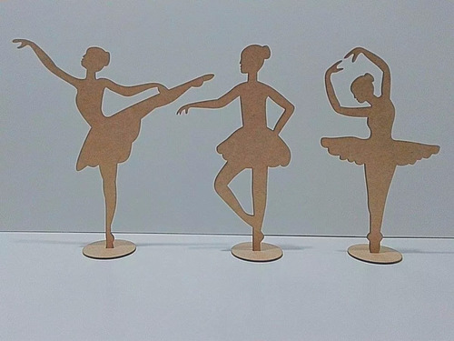 kit 15 bailarina 10cm centro de mesa mdf cru lembrancinha