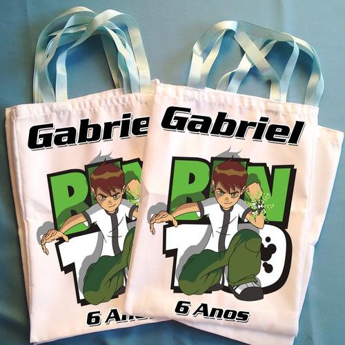 kit 15 bolsinhas eco bag sacola tecido ben 10