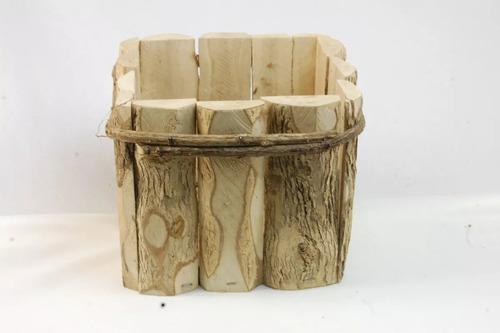 kit 15 cachepot rustico de madeira de café 11x11x9 cm