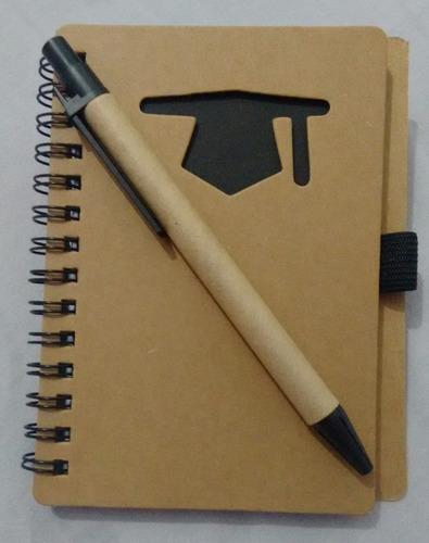 kit 15 caderno de anotação formatura abc capelo com caneta