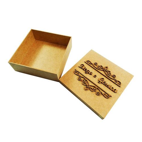 kit 15 caixas convite padrinhos casamento em mdf 15x15x5
