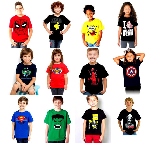 kit 15 camisetas infantil super heróis personagens games