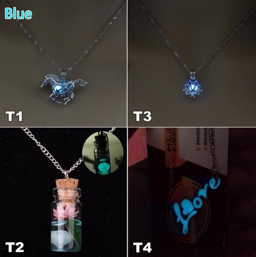 kit 15 colares brilha no escuro luminoso pingente brilhante
