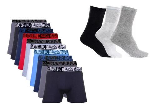 kit 15 cueca box boxer microfibra + 6 pares de meia algodão