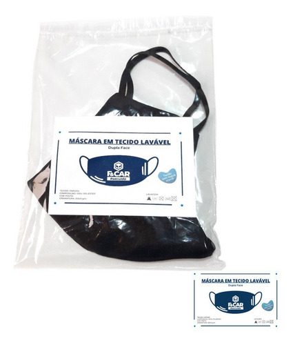 kit 15 máscaras de tecido duplo preto