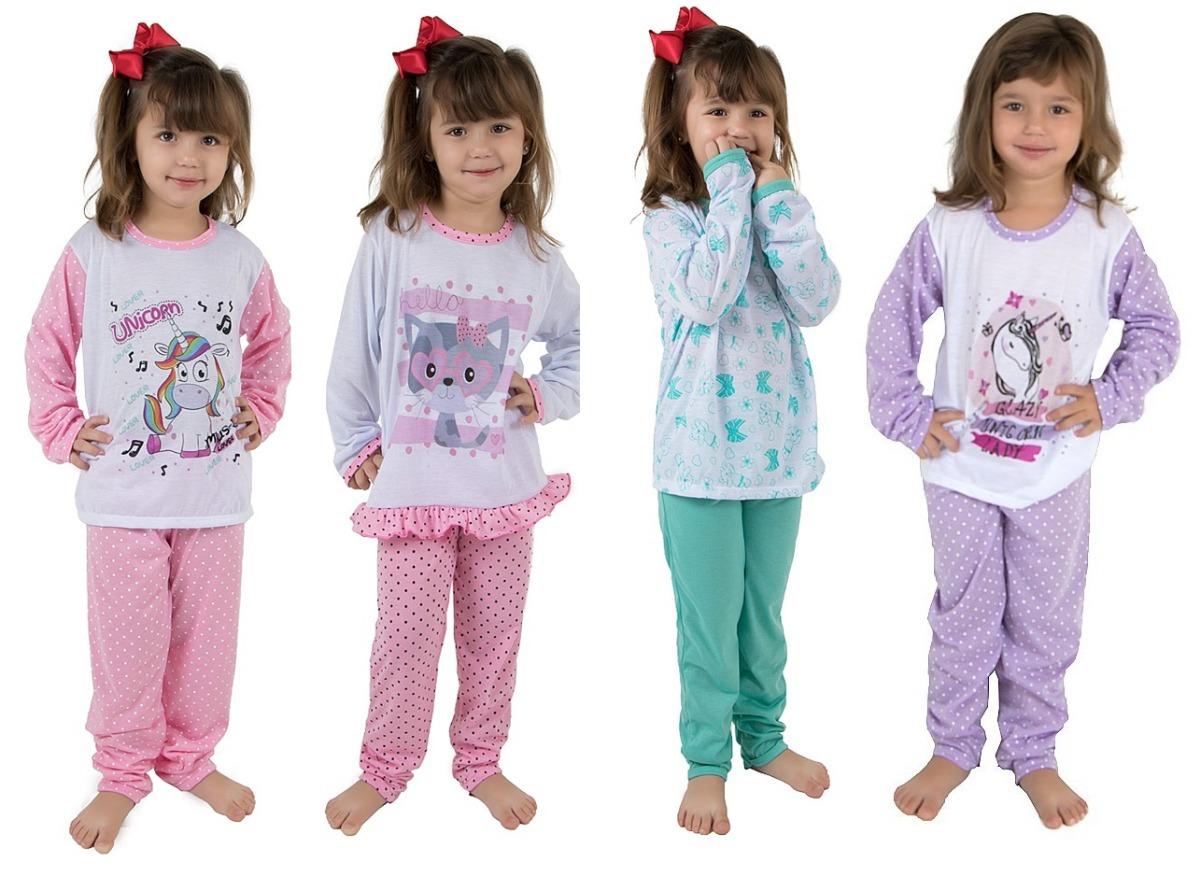 fc6521612b Kit 15 Pijamas Infantil Manga Longa