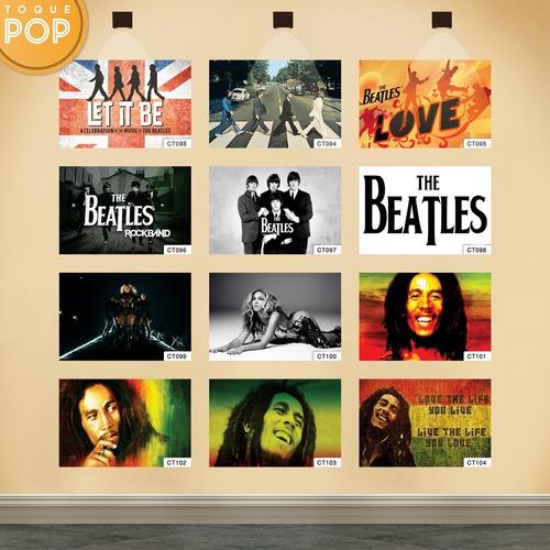 kit 15 quadro decorativo cantor banda rock 24x34 c/ moldura