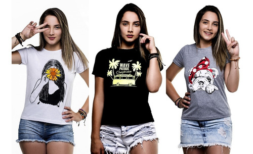 kit 15 t-shirts blusas feminina atacado blogueira