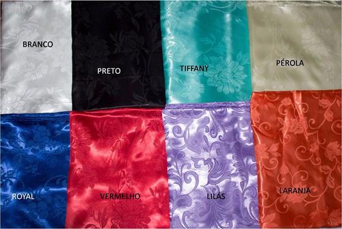 kit 15 toalhas de mesa cetim jacquard 150x150 buffet festas