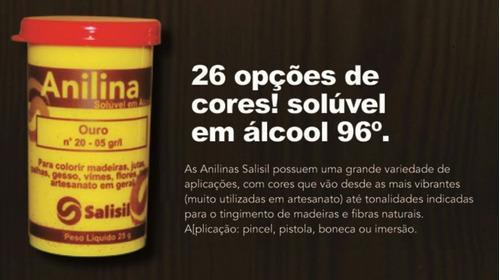 kit 15 unidades anilina 25 gramas salisil artesanato cabelos