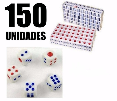 kit 150 unidades dados rpg 14mm 6 faces tabuleiro jogos