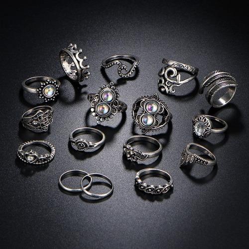 kit 16 anéis boho prata