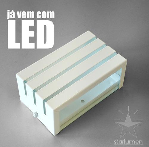 kit 16 arandela frisada luminária muro parede + led 5w st548
