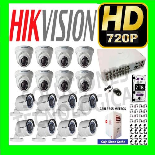 kit 16 camaras de seguridad hikvision hd 720p vea de su cel