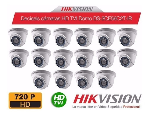 kit 16 camaras de seguridad turbo hd 720p hikvision  accesor