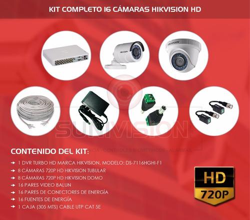 kit 16 camaras de seguridad turbo hd 720p hikvision vea cel