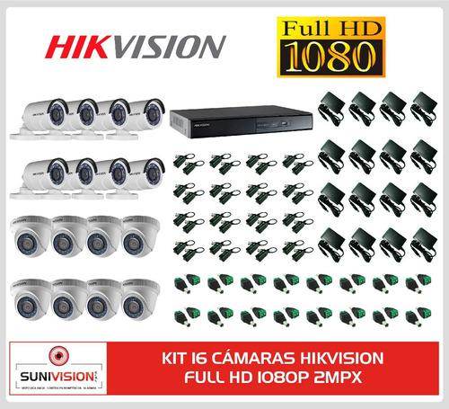 kit 16 camaras hikvision full hd 1080p 2mpx vea celular