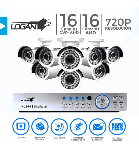 kit 16 camaras seguridad bullet 1080p dvr 16 canales full hd
