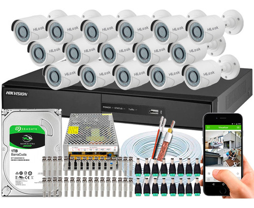 kit 16 câmeras cftv hikvision full hd 1080p 2m dvr 16 canais