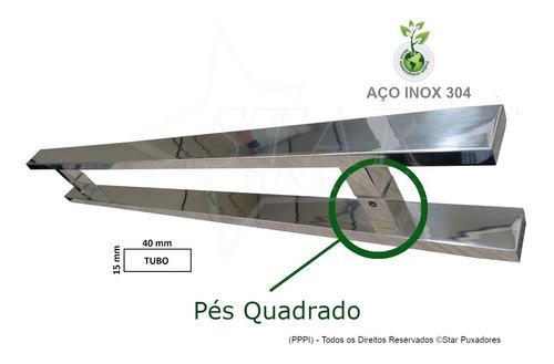 kit 16 pares de puxador inox polido madeira e vidro 60cm