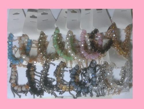 kit 16 pulseiras correntinhas franjas bijoterias
