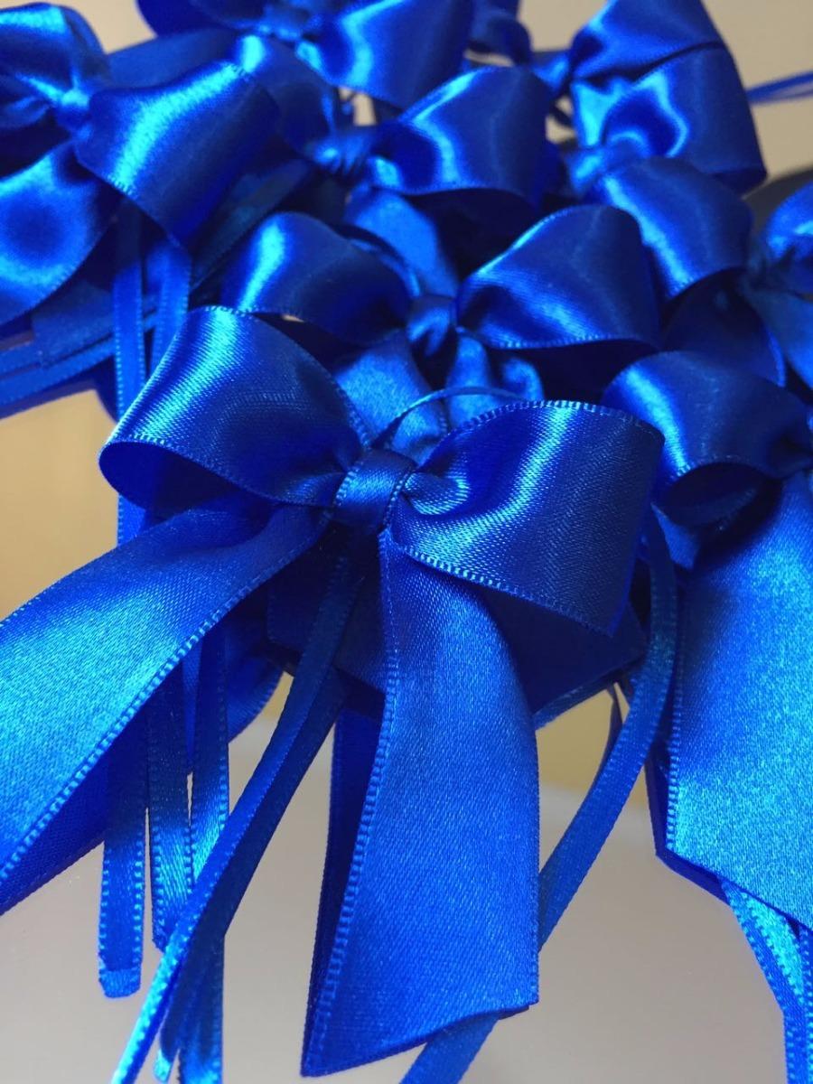 Kit 160 Laços De Cetim Prontos E Finos! Azul Royal Nº 5