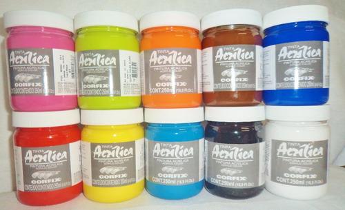 kit 17 cores tinta acrílica corfix 250ml