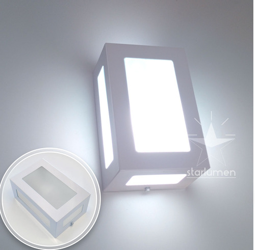 kit 18 arandela 5 vidros externa alumínio retangular st569