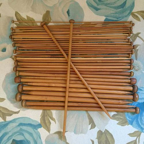 kit 18 pares agulhas para tricô  bambu 25cm - pronta entrega