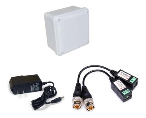 kit 1fuente 12v 1 amp +1 caja de paso+1 video balun