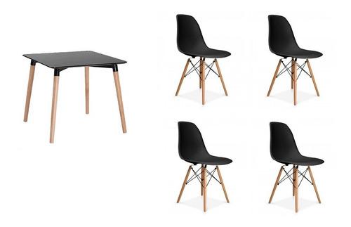 kit 1x mesa eames eiffel quadrada 80cm + 4x cadeira eiffel