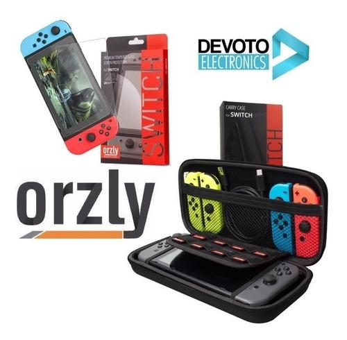 kit 2-1 funda nintendo switch + vidrio templado estuche rigida orzly dureza 9h 0.24 mm premiun accesorios originales