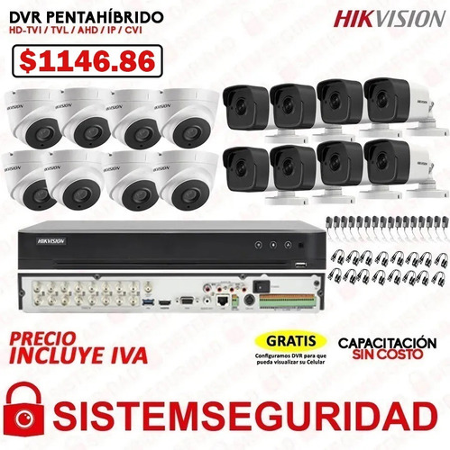 kit 2 4 6 8 16 cámaras de seguridad cctv hikvision 5mp