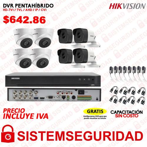 kit 2 4 6 8 16 cámaras seguridad cctv hikvision 5mp dvr