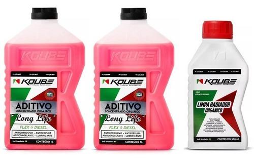 kit 2 aditivo rosa orgânico + 1 limpa radiador koube