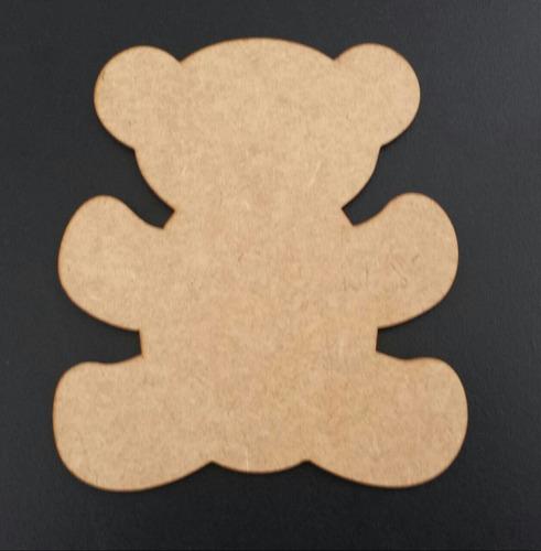 kit 2 aplique urso 40 cm + 2 centro mesa 20 cm em mdf cru